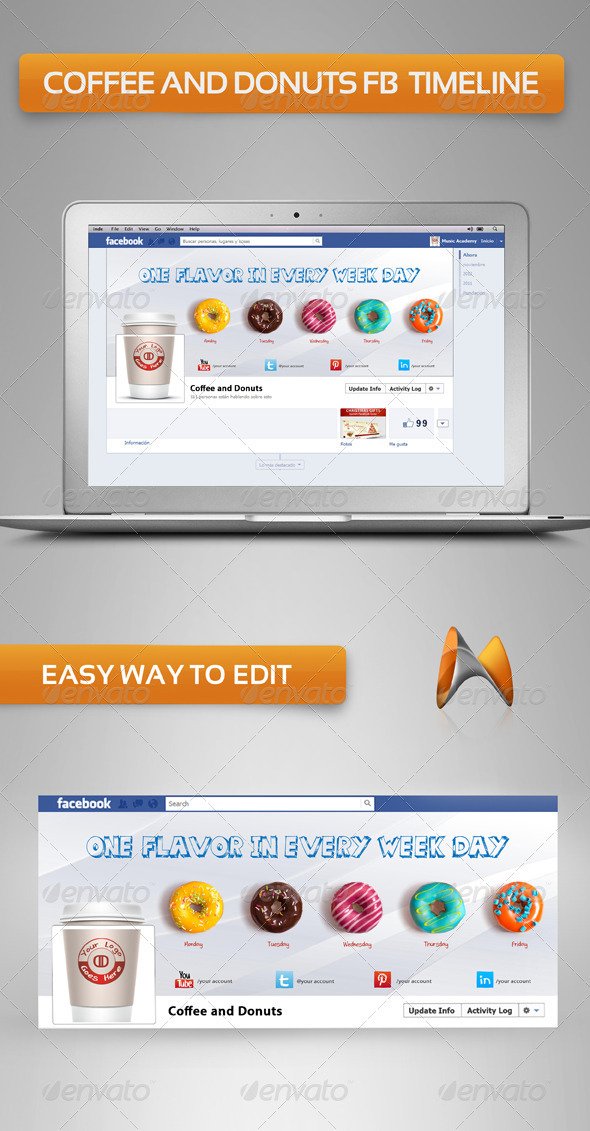 GraphicRiver Coffee and Donuts FB Timeline 3651103