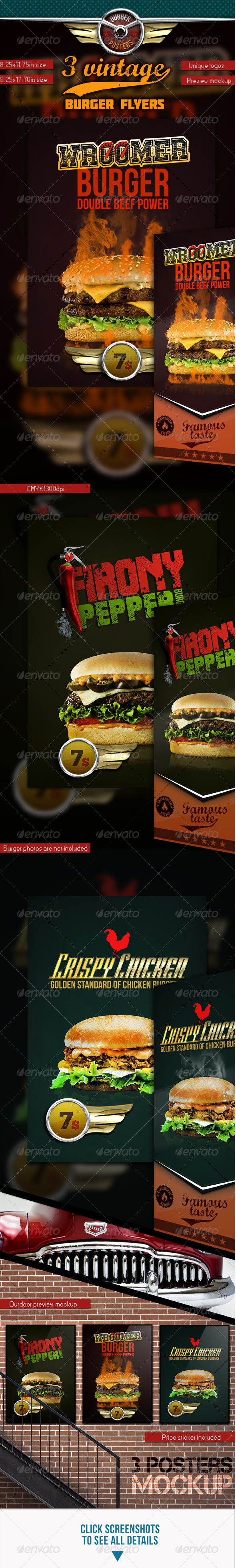 GraphicRiver 3 Burgers Vintage Posters Flyers 3651326