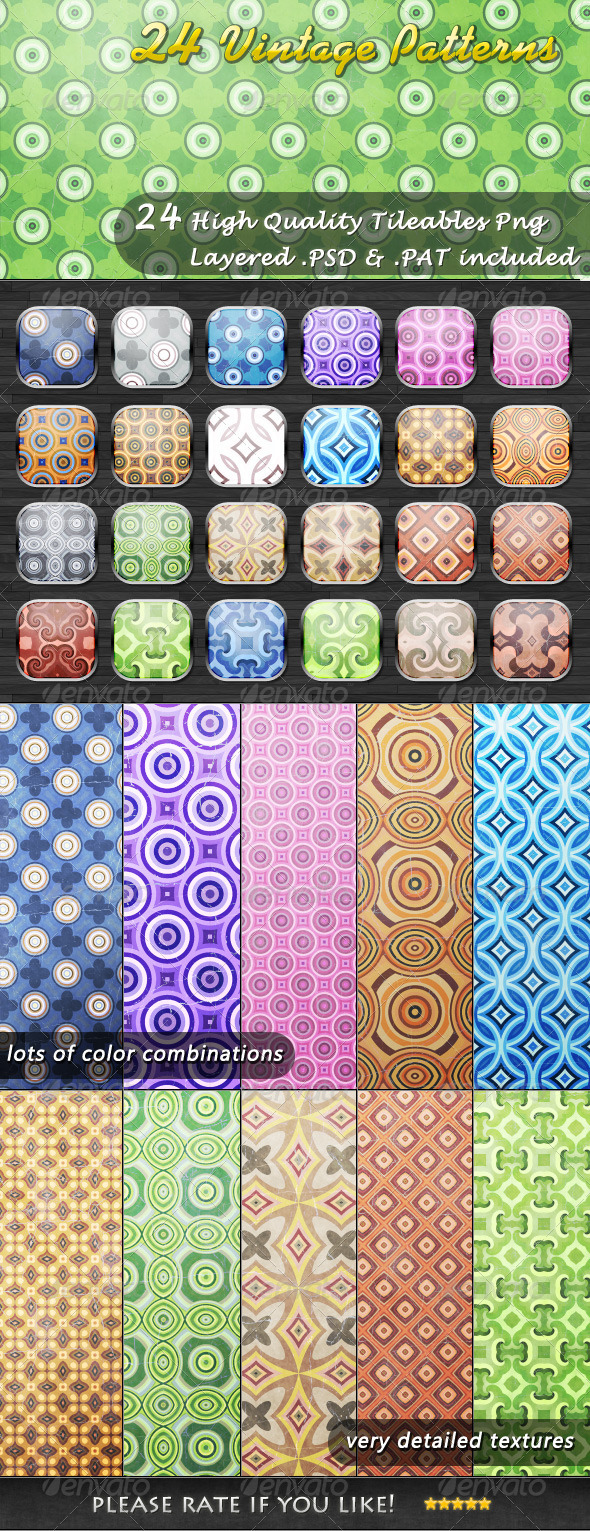 GraphicRiver 24 Tileable Vintage Patterns 3651666