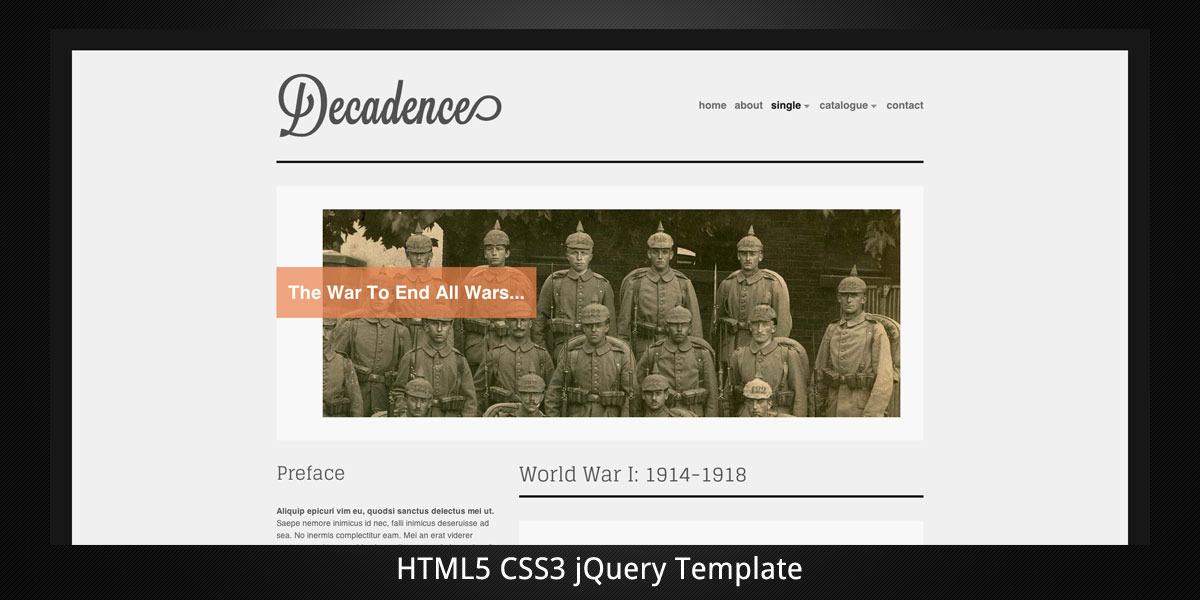 Decadence. Minimal. HTML5. + Light Mobile Version