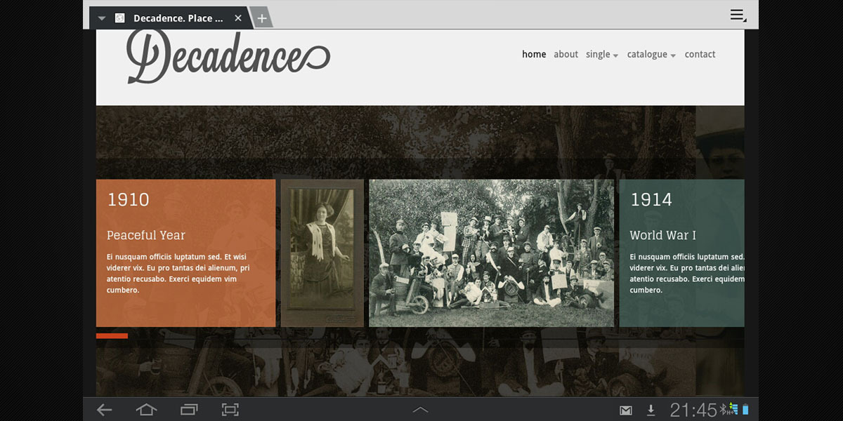 Decadence. Minimal. HTML5. + Light Mobile Version