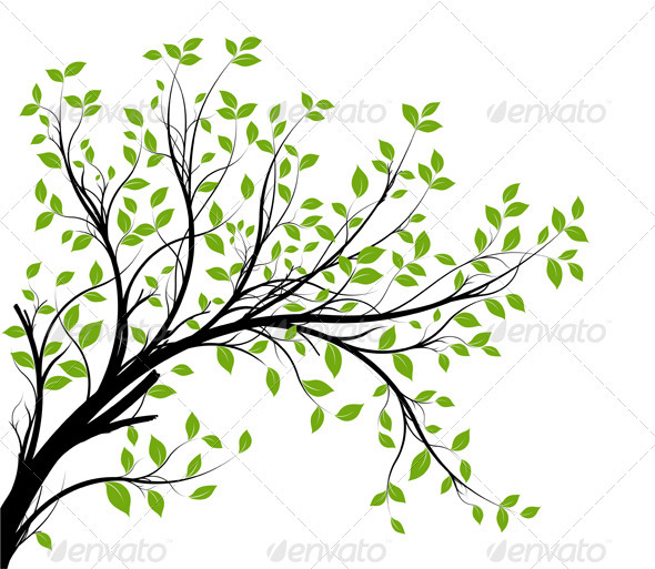 GraphicRiver Vector Tree Branch Silhouette Over White 3652103