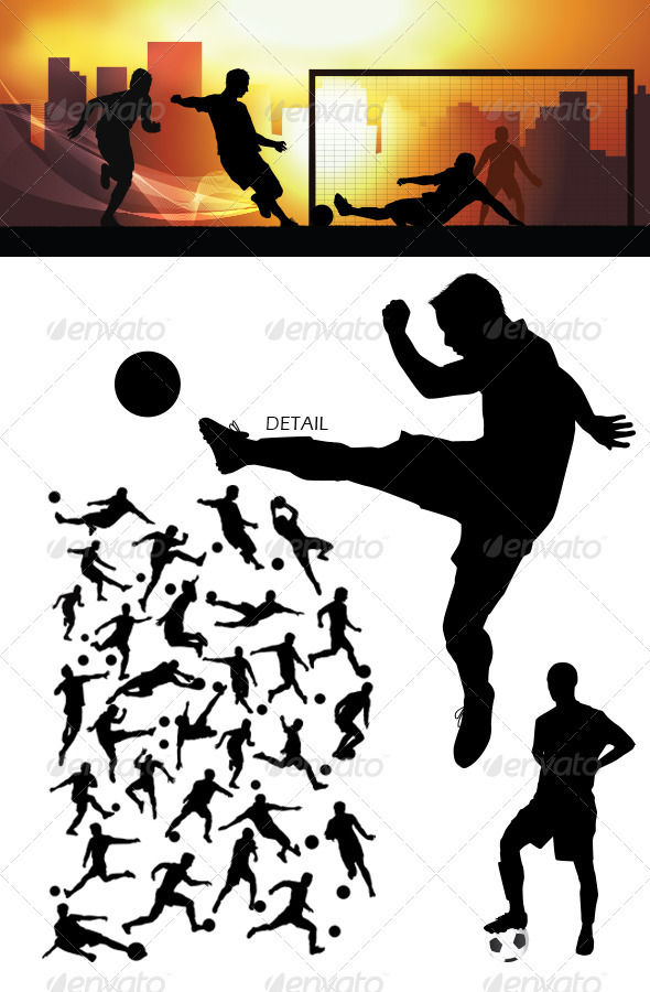 GraphicRiver Soccer Silhouettes 3652723