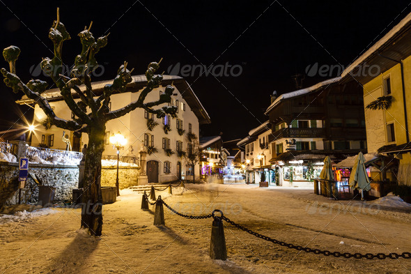 Illuminated Central Square of Megeve in French Alps, France - Stock Photo - Images