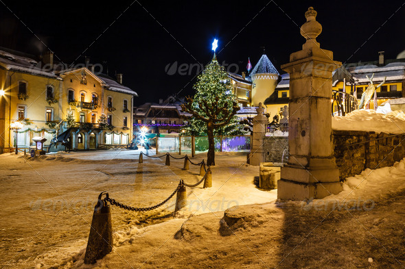 Illuminated Central Square of Megeve on Christmas Eve, French Al - Stock Photo - Images