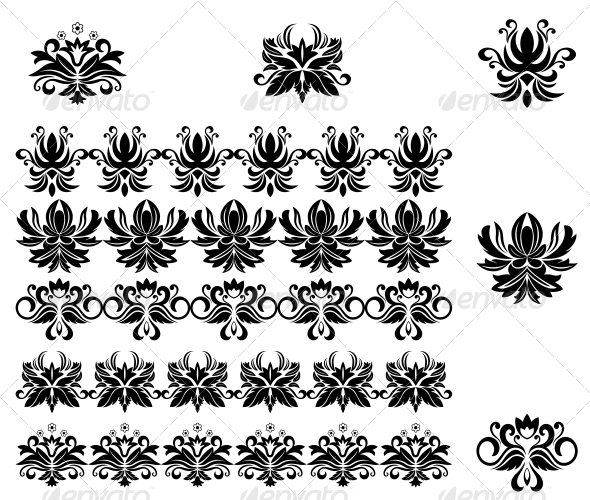 GraphicRiver Flower Patterns and Borders 3653084