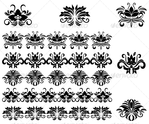 GraphicRiver Flower Patterns and Borders 3653092
