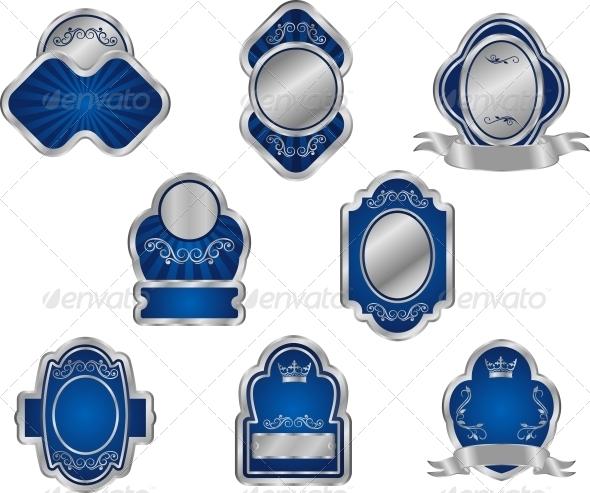 GraphicRiver Set of Vintage Silver Labels 3653098