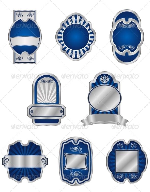 GraphicRiver Set of Vintage Silver Labels 3653140