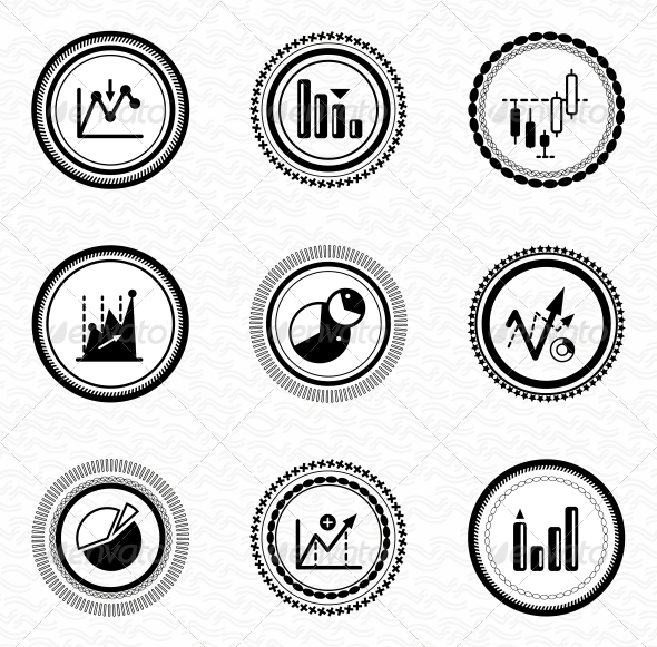 GraphicRiver Black Retro Labels and Badges Business Statistic 3653481