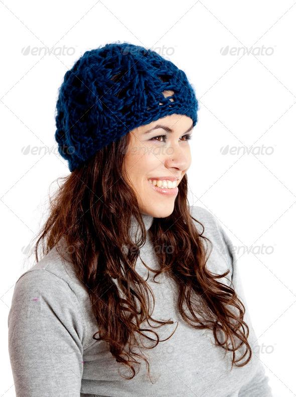 PhotoDune Smiling winter girl wearing hat 3661586