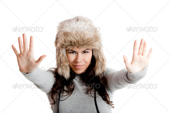 PhotoDune Girl with a fur hat 3661589