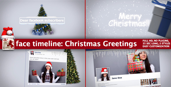 VideoHive Face Timeline Christmas Greetings 3654188