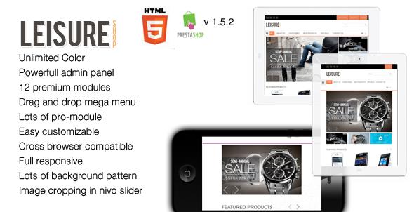ThemeForest Leisure Responsive HTML5 Prestashop Theme 3605233