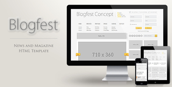 ThemeForest Blogfest Blog News and Magazine HTML template 3655182