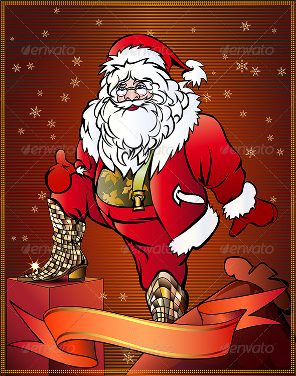 GraphicRiver Santa Claus Tries on Gift 3553655