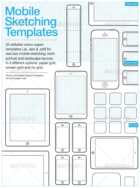 GraphicRiver Mobile Sketching & Wireframing Templates 3610428