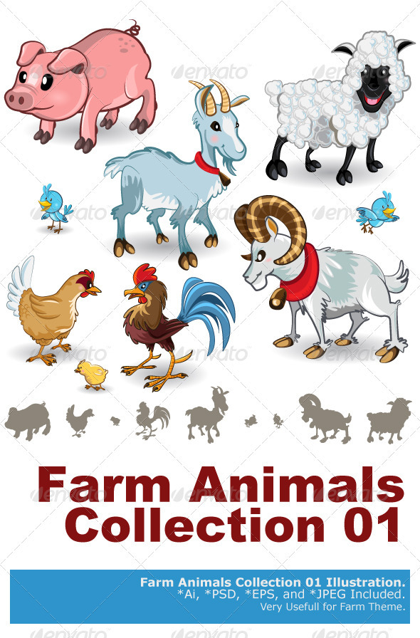 GraphicRiver Farm Animals Collection Set 01 3611047