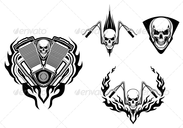 GraphicRiver Death Monster for Racing Mascot or Tattoo 3656238