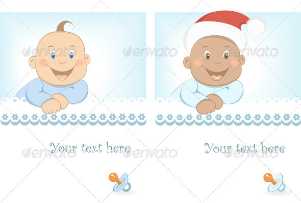 GraphicRiver Funny Baby Boy Arrival Announcement 3619307