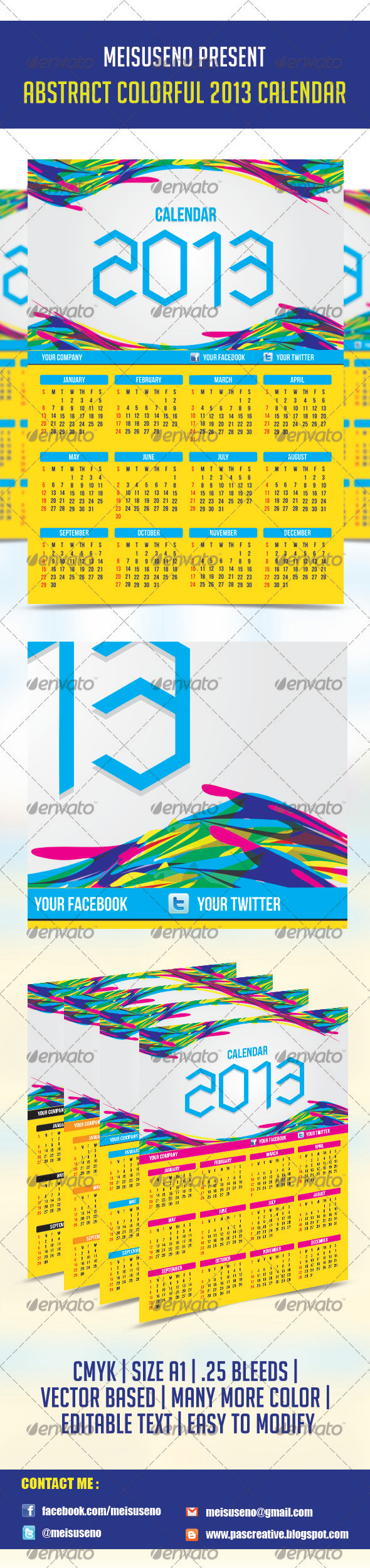 Abstract Colorful 2013 Calendar Template - Calendars Stationery