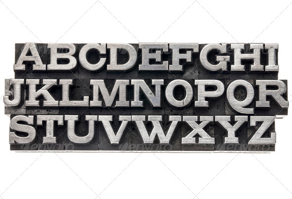 alphabet in metal type - Stock Photo - Images