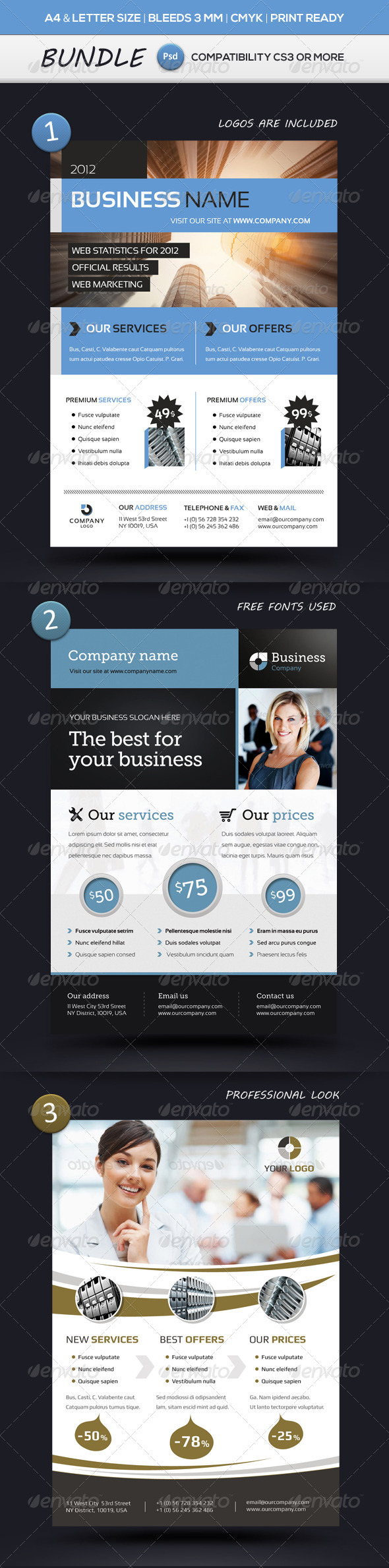 GraphicRiver Business Flyer Templates A4 & Letter BUNDLE 3602300