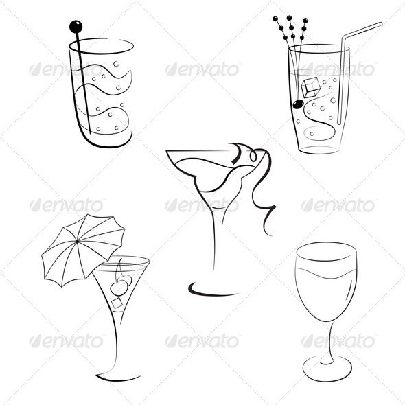GraphicRiver Set of Cocktails and Wines 3659671