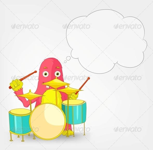GraphicRiver Funny Monster Drummer 3661081