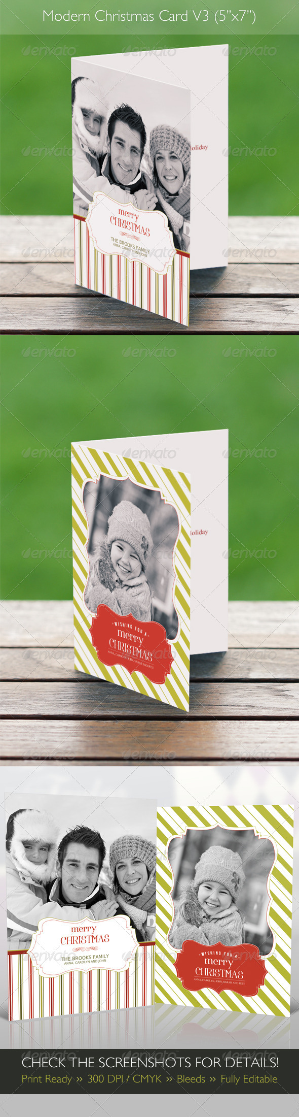 GraphicRiver Modern Christmas Card V3 2 in 1 3661126