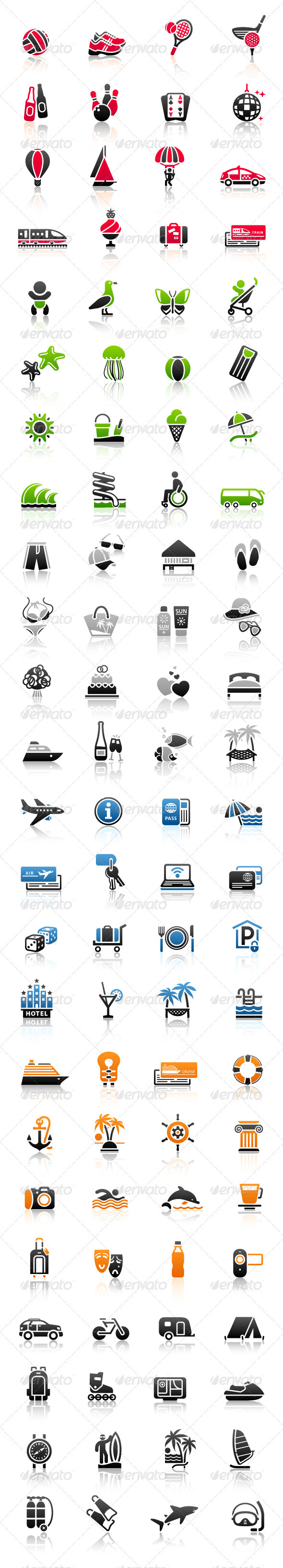 GraphicRiver Vacation Signs Travel Symbols Recreation Icons 3661189