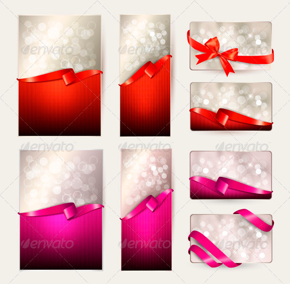 GraphicRiver Set of Colorful Gift Cards with Gift Ribbons 3637042