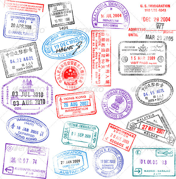 GraphicRiver High Detail Vector Passport Stamps Set 3661308