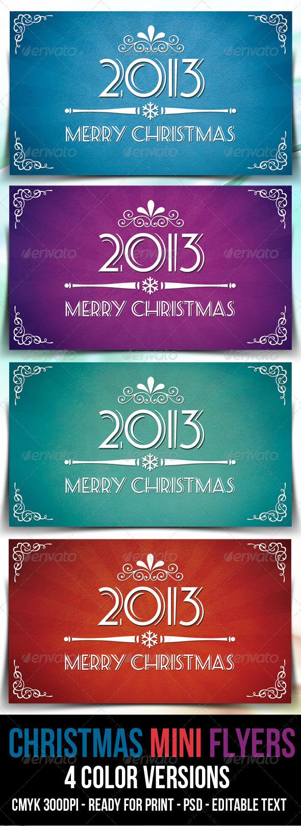 GraphicRiver Retro Mini Flyers for Christmas 3663631