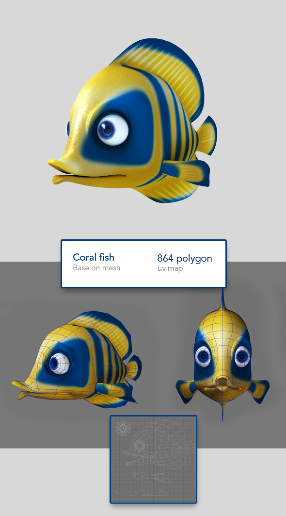 Blue fish base on mesh - 3DOcean Item for Sale
