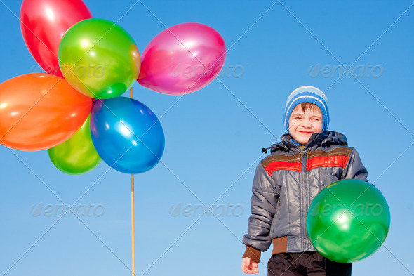 PhotoDune boy with air marbles on nature 3665057