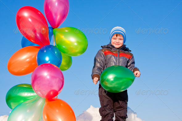PhotoDune boy with air marbles on nature 3665061