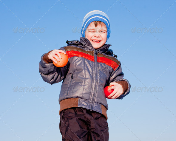 PhotoDune boy with fruit in hands on nature 3665071