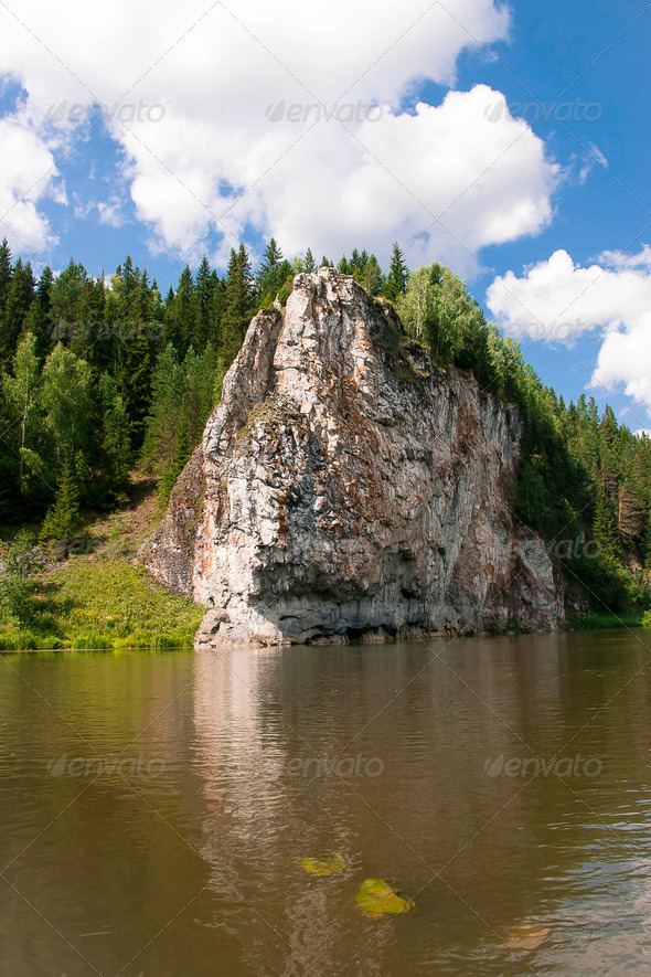 PhotoDune beautiful Ural nature on the river Chusovaya Perm edge 3665290