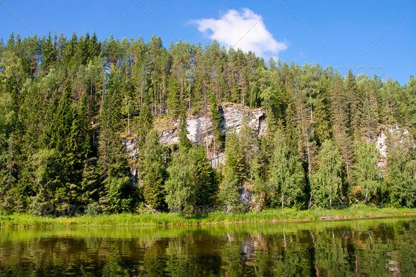 PhotoDune beautiful Ural nature on the river Chusovaya Perm edge 3665309