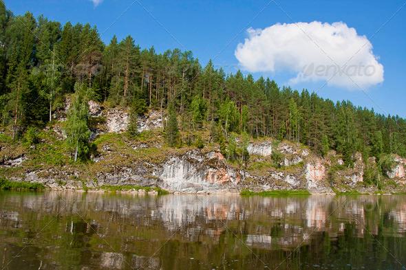 PhotoDune beautiful Ural nature on the river Chusovaya Perm edge 3665311