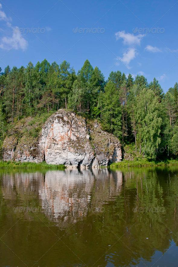 PhotoDune beautiful Ural nature on the river Chusovaya Perm edge 3665313