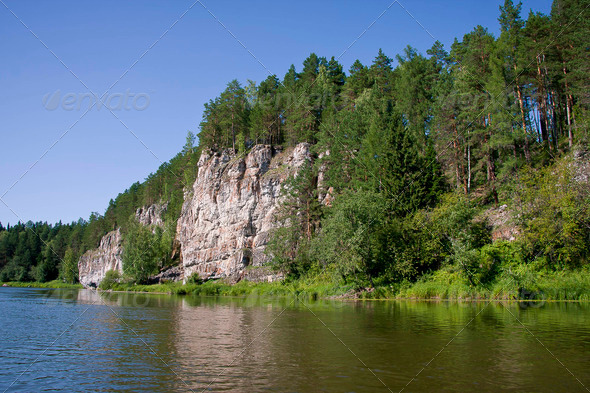 PhotoDune beautiful Ural nature on the river Chusovaya Perm edge 3665314