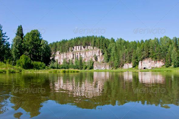 PhotoDune beautiful Ural nature on the river Chusovaya Perm edge 3665315