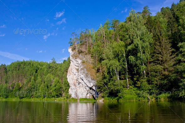 PhotoDune beautiful Ural nature on the river Chusovaya Perm edge 3665316