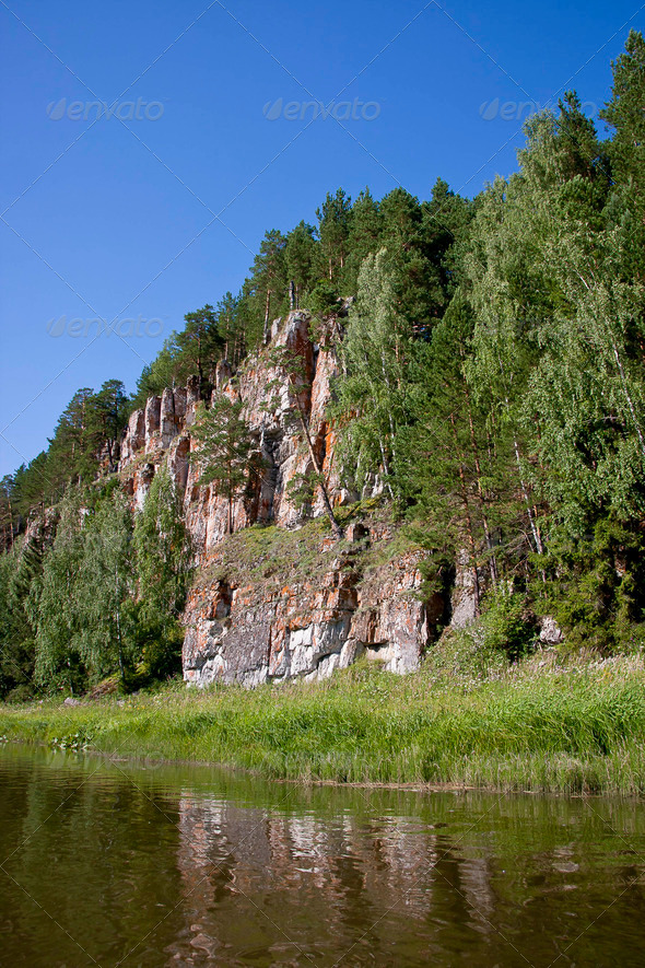 PhotoDune beautiful Ural nature on the river Chusovaya Perm edge 3665324