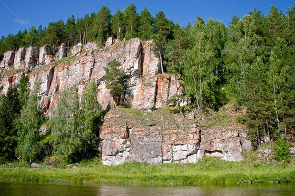 PhotoDune beautiful Ural nature on the river Chusovaya Perm edge 3665325