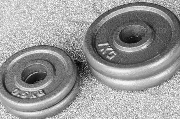 PhotoDune Grey dumbbell weights 3665363