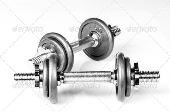 PhotoDune Grey dumbbells 3665366