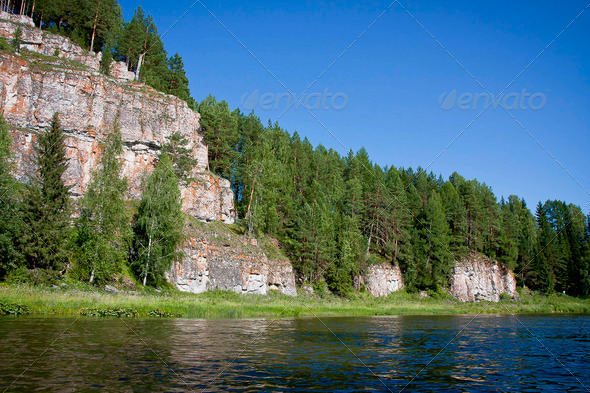 PhotoDune beautiful Ural nature on the river Chusovaya Perm edge 3665329